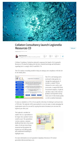 Legionella Compliance Resources CD